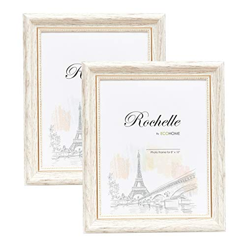 8x10 Picture Frame Antique White/Gold - 2 Pack - Mount/Desktop Display, Frames by EcoHome
