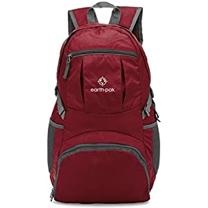 Earth Pak Backpack - Foldable Day Pack for All Your Daily Activities from School to Travel, Camping, Hiking - Carry On Backpack for Men, Women - Holds Everything You Need - Durable, Lightweight