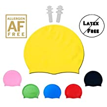 HUAYI Silicone Swim Cap - Fit for Long Hair and Short Hair - For Adults and Kids - Premium Thick Anti Rip Material- Compare to Speedo - Includes Free Gift a Pair of Ear Plugs (yellow)
