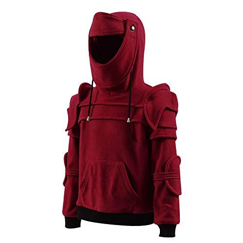 Big Boys Kids Arthur kinght Hoodie Medieval Armor Sweatshirt Jacket Costume (Kids 3T, Burgundy) ()