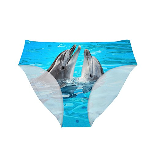 Dellukee Sexy Women Underwear Briefs Breathable Hipster Panty Dolphin Print