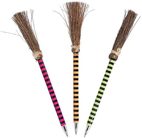 Fun Express - Bright Color Witch Broom Pens for Halloween - Stationery - Pens - Pens - Novelty - Halloween - 12 Pieces