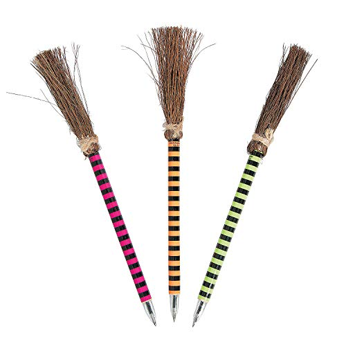 (Fun Express - Bright Color Witch Broom Pens for Halloween - Stationery - Pens - Pens - Novelty - Halloween - 12)
