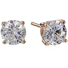 Platinum or Gold Plated Sterling Silver Round Stud Earrings made Swarovski Zirconia (2cttw)