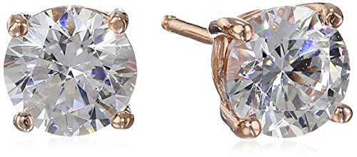 Rose Gold Plated Sterling Silver Stud Earrings set with Round Cut Swarovski Zirconia (2 cttw)