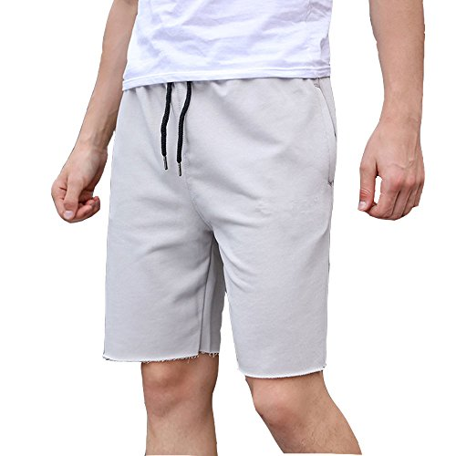 EVERWORTH Men's Training Gym Shorts SweatShorts Bodybuilding Joggers Classic Gym Pants Sweat with Zipper Pockets Light Grey M Tag XL