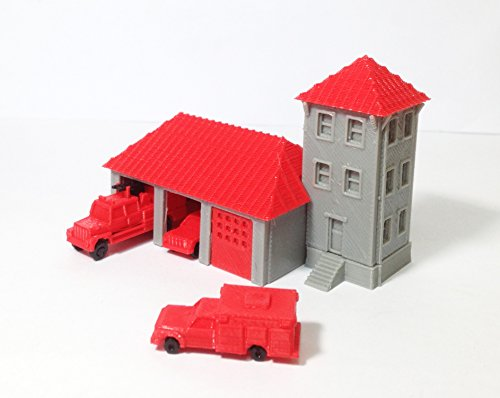 Outland Models Train Railway Country Fire Station with 3 Fire Trucks Z Scale