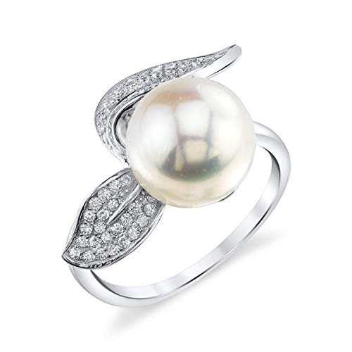 THE PEARL SOURCE 10-11mm Genuine White Freshwater Cultured Pearl Cubic Zirconia Leaf Ring for Women