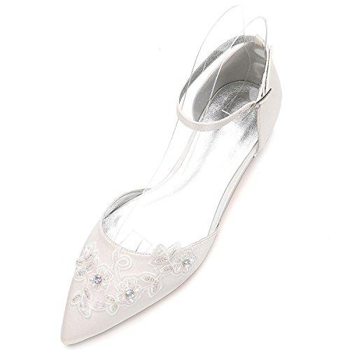 Elegant high shoes Zapatos de La Corte de Boda de Las Mujeres 5047-16 Bombas de La Hebilla de Las Flores Zapatos Planos de La Plataforma del Dedo del Pie Cerrado Ivory