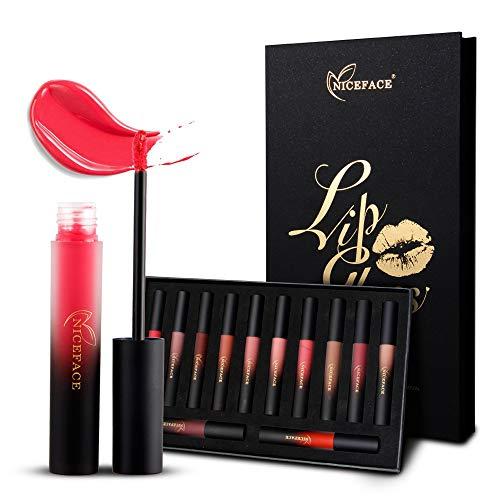 Liquid Matte Lipstick Set 12 Colors Waterproof Sexy Pigmented Lip Gloss Makeup Cosmetics Christmas High-end Gift Box Packaging