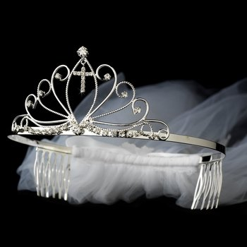 Wedding Discount Veils (Communion Veil with Attached Silver Rhinestone Cross Headpiece in Silver)
