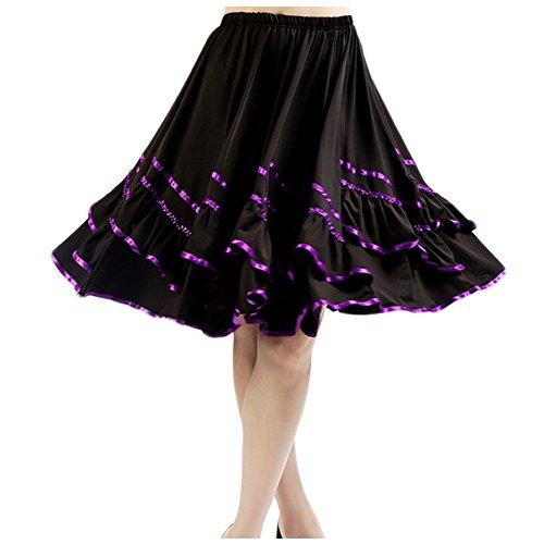 Saymequeen Women Large Skirt Ballroom Dance Latin Rumba Square Dance Dress (M, purple) (Dance The Dress Square)