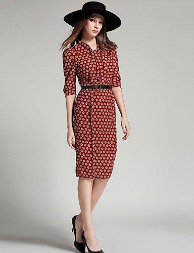PU&PU Robe Aux femmes Mousseline de Soie Simple / Street Chic,Fleur Asymétrique Mi-long Polyester , red-s , red-s