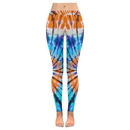 INTERESTPRINT Ethnic Boho Tribal Tie Dye Custom Stretchy Capri Leggings Skinny Pants for Yoga Running Pilates Gym L