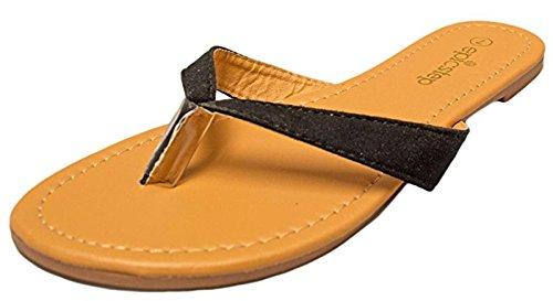 Women's Basic Patent Flat Thong Sandal Simple Thong Slip On Summer Casual Flat Sandals Shoes (10, Vegan Suede Black)