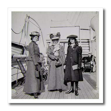 3dRose Scenes from The Past - Magic Lantern - 1907 Edwardian Ladies Aboard Ocean Passenger Steamer Vintage - 10x10 Iron on Heat Transfer for White Material (ht_300290_3)