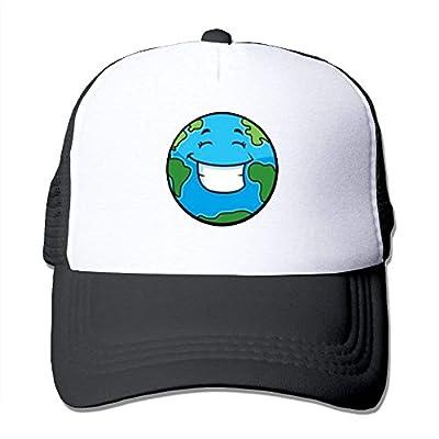 Smiling Earth Baseball Cap Adjustable Snapback Custom Mesh Trucker Hat by BHUIA