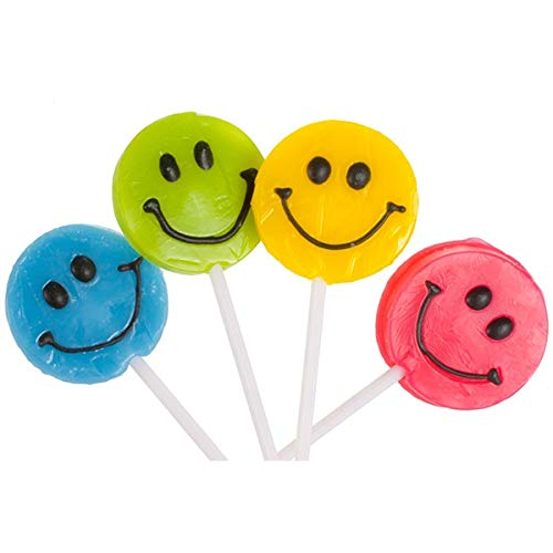 (Squire Boone Teeny Happy Face Smiley Pop Assorted Lollipops - 48 Count Display Box)