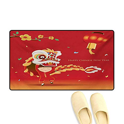 Bath Mat,Little Boy Performing Lion Dance with The