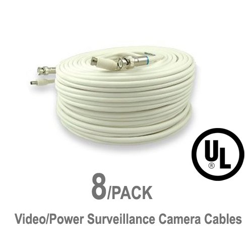 8 Pack UL Listed 60 ft Feet Professional Grade RG59 siamese combo cable for TVI, CVI, AHD and HD-SDI camera system with BNC connectors and 2.1mm power jack for plug and play connections by 5 Star Cable
