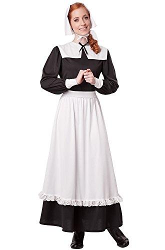 California Costumes Women's Pilgrim Woman Adult, Black/White,