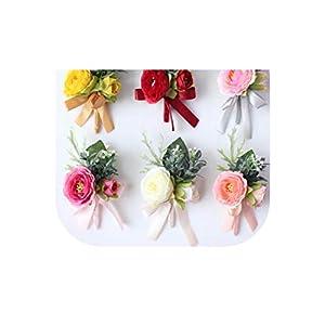 loveinfinite Bride Corsages Hand Flores Silk Wrist Flower Yellow Wedding Bouquet for Bridesmaid Decor Pin Red Rose Wrist Flowers 108