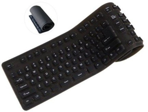 ProHT Foldable USB Wired Keyboard (70140), 109 Keys Silicone Soft Waterproof Keyboard for PC Notebook Laptop, Black