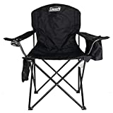 Coleman Camping Chair|Tailgating Chair with Cooler|Beach Chair with Cooler|Portable Quad Chair with a 4-can cooler for tailgating, camping, and the Outdoors