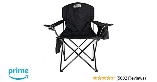 a18af618e277 Amazon.com : Coleman Camping Chair Tailgating Chair with Cooler Beach Chair  with Cooler Portable Quad Chair with a 4-can cooler for tailgating,  camping, ...