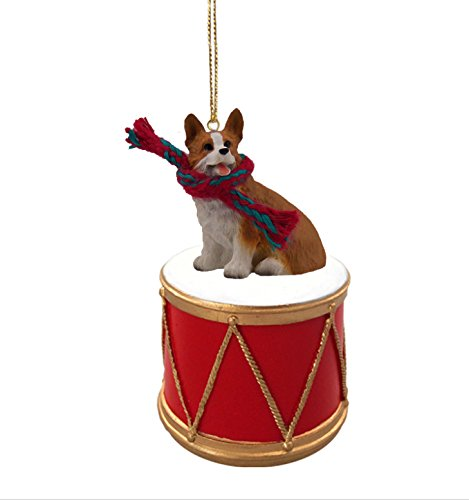 WELSH-CORGI-PEMBROKE-Dog-DRUM-Christmas-Ornament-wGold-String-Scarf-DRD51A