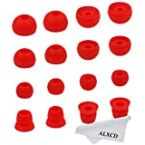 ALXCD Ear Tips for Powerbeats2 Wireless Headphone, SML 3 Sizes 6 Pair Silicone Replacement Earbud Tips & 2 Pair Double Flange Ear Tip Cushion, Fit for Beats Powerbeats 2 Wireless [8 Pair]?Red?