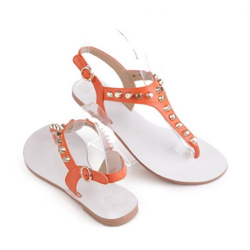 WeenFashion Womens Open Toe Cow Sandals Leather Embossed Leather Solid Sandals Cow with Rivet, Orange, 4 B(M) US B00KJ60HWQ Parent 766b55