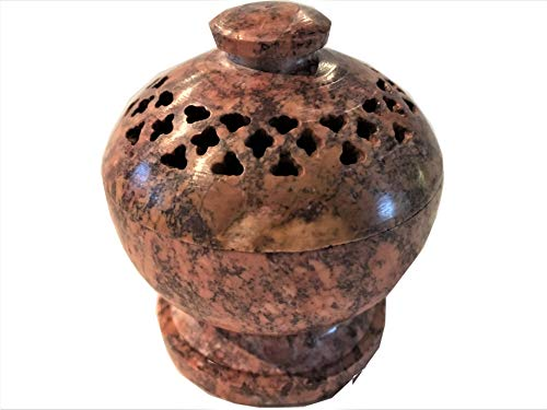 (NAI Soapstone/Stone Incense Burner Bowl, Pot, Jar for Cones, Sticks, Resins or Charcoal- JL872)
