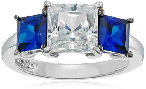 Platinum-Plated-Sterling-Silver-Princess-Cut-Swarovski-Zirconia-and-Created-Sapphire-Ring