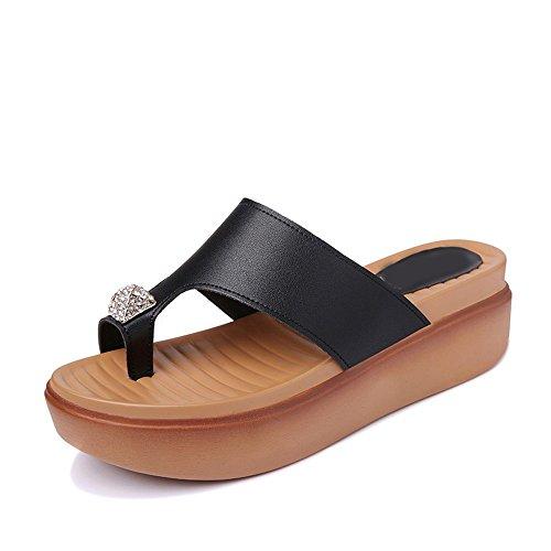 Pantoufles à Et Noir de Summer Sandales Strass épais Vory Fond Mme Plage Pantoufles qBwF8Wpf