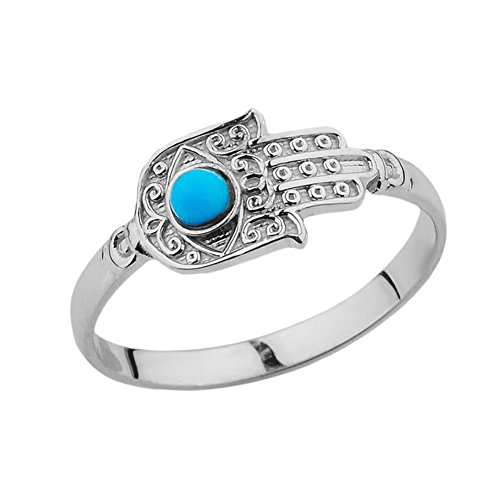 Middle Eastern Jewelry Unique Sterling Silver Hamsa Hand with Blue Stone Ring (Size 6)