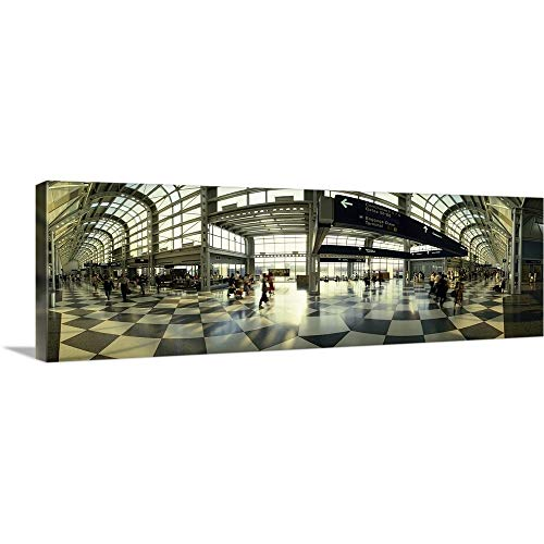 GREATBIGCANVAS Gallery-Wrapped Canvas Entitled Passengers at an Airport, Ohare Airport, Chicago, Illinois by 48