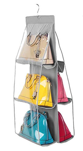 Santwo 6 Pocket Handbag Anti-dust Cover Clear Hanging Closet Bags Organizer Purse Holder Collection Shoes Save Space (gray) from Santwo