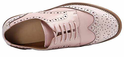 cómodo Low Rosa Las Heel Office Leather Oxfords SimpleC Vintage mujeres perforaron Claro Shoes Brogue Wingtip 84vaHa1q