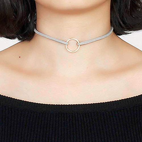 - Necklace Choker Rings Women Doreen Box New Fashion Gray Velvet Suede Choker Necklace Gold Color Circle Ring Pendant 33cm(13
