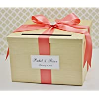 Wedding Card Money Holder Box Champagne Gold and Coral Classic Customizable