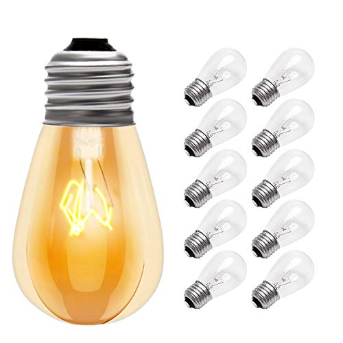 10-Pack 11w S14 Edison Light Bulbs JACKYLED Replacement Incandescent Glass Bulbs with E26 Medium Base for Outdoor Patio Garden Vintage String Lights 2700K Warm White Dimmable Shatterproof