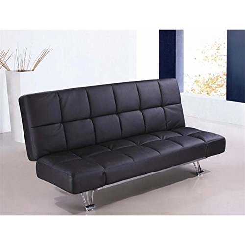Bowery Hill Faux Leather Convertible Sofa in Black