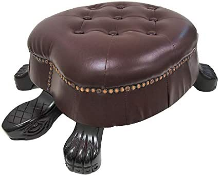 Things2Die4 Elegant Wooden Walnut Finish Turtle Ottoman Foot Stool – Faux Leather Ottoman Brass Tack Accents