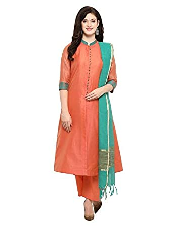9cb96ae5a3 Inddus Women's Solid Chanderi Cotton Woven Fully Stitched Salwar Suit with  Dupatta (IND-ISK
