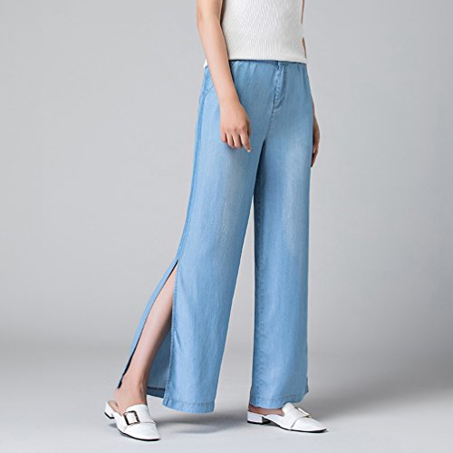 Taille de de Larges Xinwcanga Occasionnels Lumire Jeans Femmes Haute Jambe Pantalons Bleu CawqHw