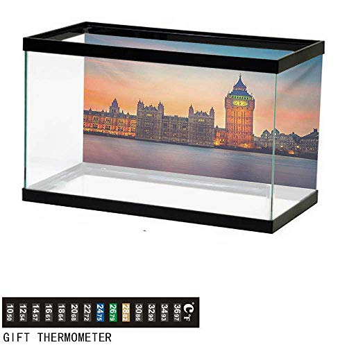 wwwhsl Aquarium Background,London,Fairy View of Big Ben and Houses of Parliament at Dusk in London British Urban Town,Multicolor Fish Tank Backdrop 48