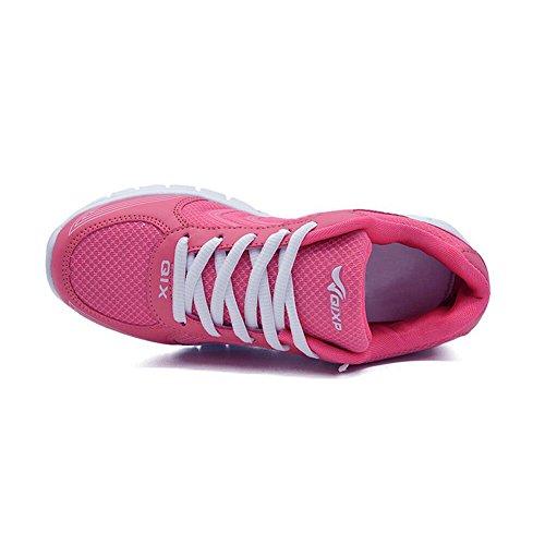Ponyka-Frauen leichte athletische gehende Turnschuhe Breathable Tennis-Straßen-laufende Schuhe US4.5-10.5 Rose Rot
