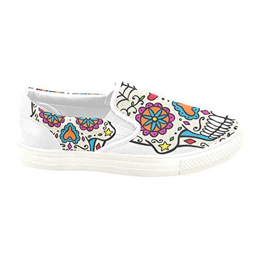 D-story Custom Sneaker Sugar Skull Mujeres Zapatos De Lona Antideslizantes Inusuales