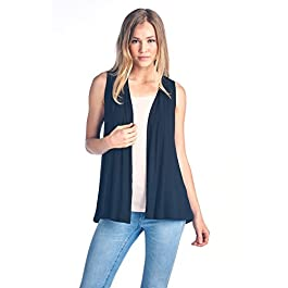 Women's Sleeveless Extra Soft Bamboo Layering Casual Cardigan Vest – Made in USA